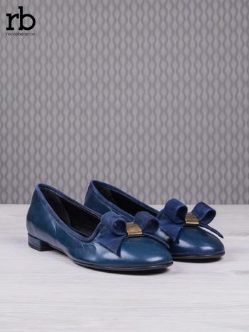 ROCCOBAROCCO Granatowe balerinki true leather skórzane z kokardką z zamszu                                  zdj.                                  3