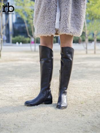 ROCCOBAROCCO brązowe skórzane kozaki genuine leather do kolan z asymetryczną cholewką                                  zdj.                                  4