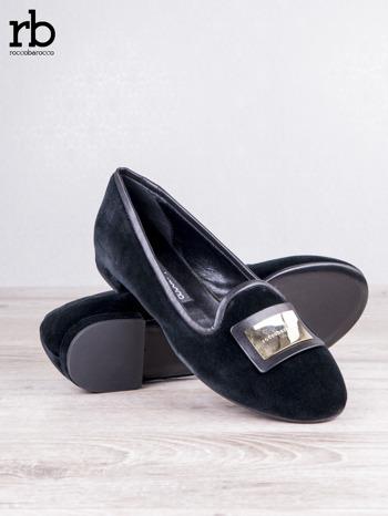ROCCOBAROCCO czarne baleriny shammy-leather z weluru                                  zdj.                                  4