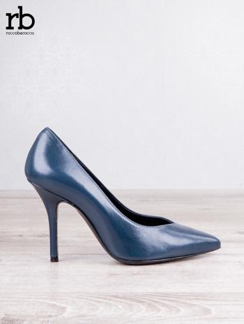 ROCCOBAROCCO niebieskie skórzane szpilki grain leather w szpic                                  zdj.                                  2