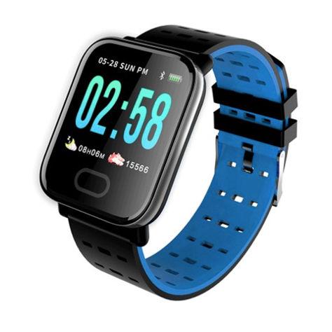 RONEBERG Smartwatch Smartband RA6 Pulsometr Ciśnieniomierz Oksymetr Powiadomienia Długi czas działania niebiesko-czarny                              zdj.                              1