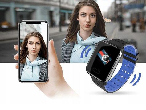 RONEBERG Smartwatch Smartband RA6 Pulsometr Ciśnieniomierz Oksymetr Powiadomienia Długi czas działania niebiesko-czarny                              zdj.                              3