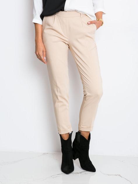 RUE PARIS Beżowe spodnie Control