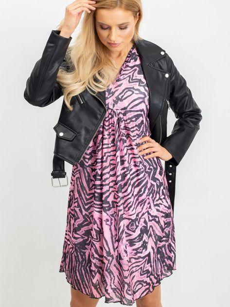 RUE PARIS Różowo-czarna sukienka Tiger                              zdj.                              7
