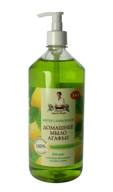 Recepty Babci Agafii Mydło Domowe naturalne Mięta i Cytryna 1000 ml