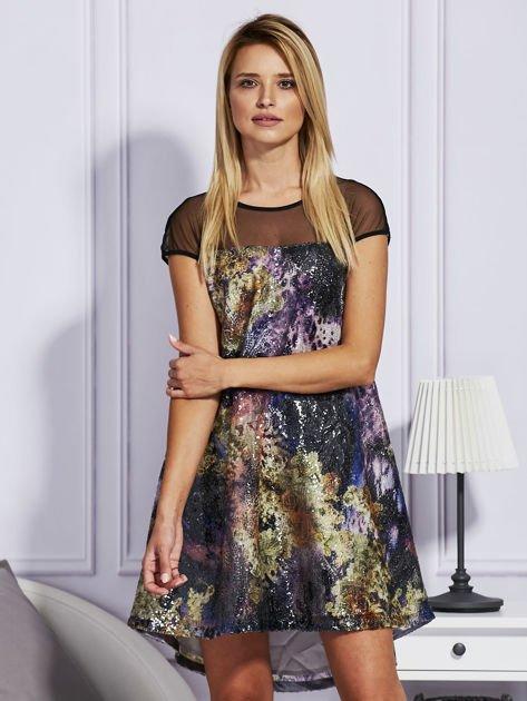 Rozkloszowana sukienka z cekinami                              zdj.                              1