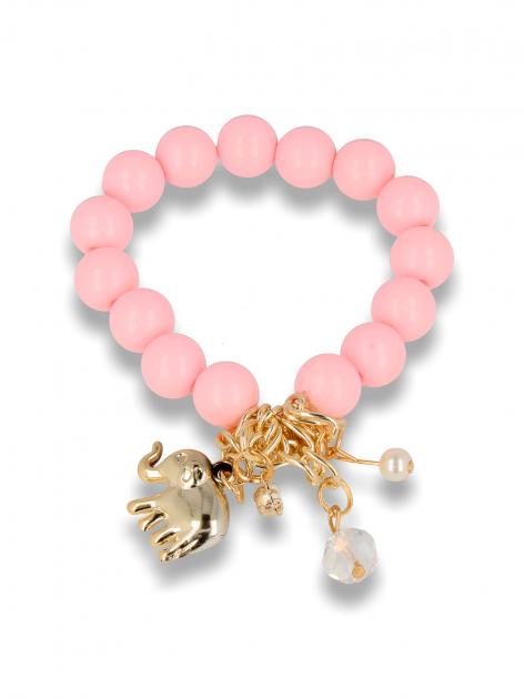 Różowa Bransoletka koralikowa z bogatą zawieszką