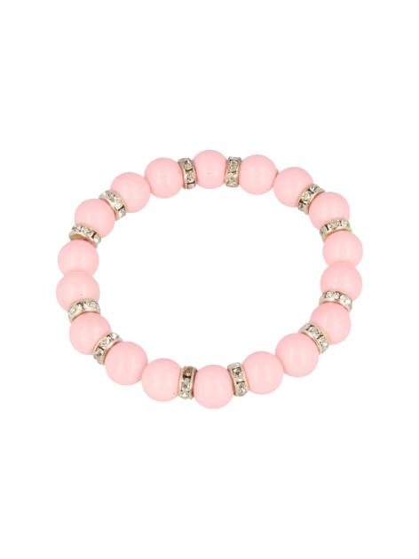Różowa Bransoletka koralikowa  z cyrkoniowymi przekładkami                                  zdj.                                  2