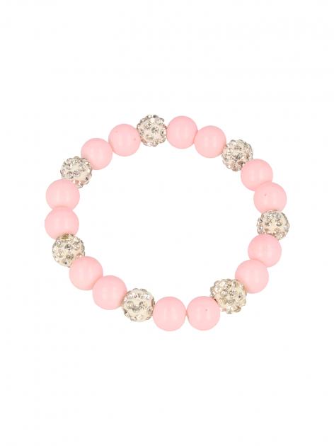 Różowa Bransoletka koralikowa z kulkami schamballa                                  zdj.                                  2