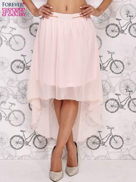Różowa asymetryczna spódnica z suwakami                                  zdj.                                  1