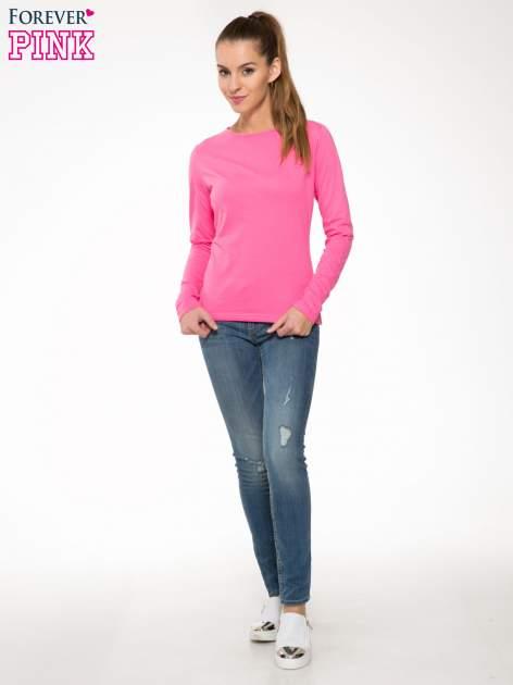 Różowa bawełniana bluzka typu basic z długim rękawem                                  zdj.                                  2