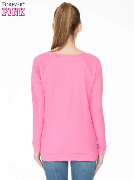 Różowa bawełniana bluzka z rękawami typu reglan                                  zdj.                                  4