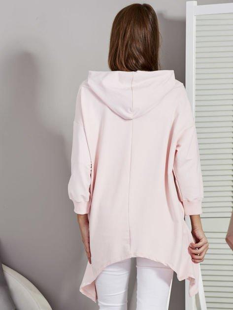 Różowa bluza oversize z kapturem                              zdj.                              2