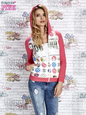Różowa bluza z kapturem i napisem HONOUR                                  zdj.                                  1