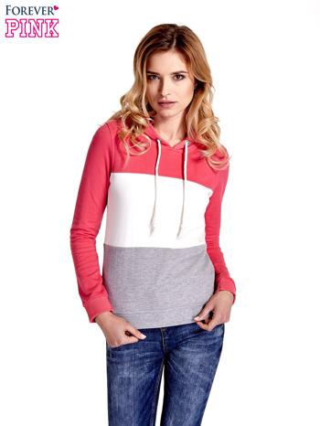 Różowa bluza z kapturem z białym i szarym wykończeniem                                  zdj.                                  1