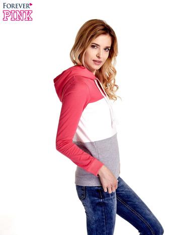 Różowa bluza z kapturem z białym i szarym wykończeniem                                  zdj.                                  5