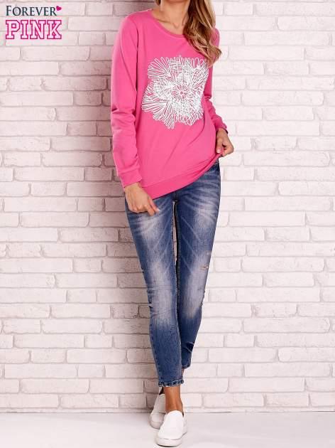 Różowa bluza z kolorowym nadrukiem                                  zdj.                                  2