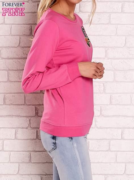 Różowa bluza z kolorowymi naszywkami                                  zdj.                                  3