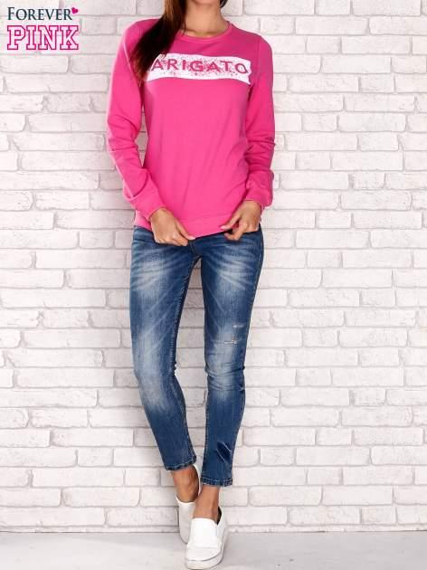 Różowa bluza z napisem ARIGATO                                  zdj.                                  2