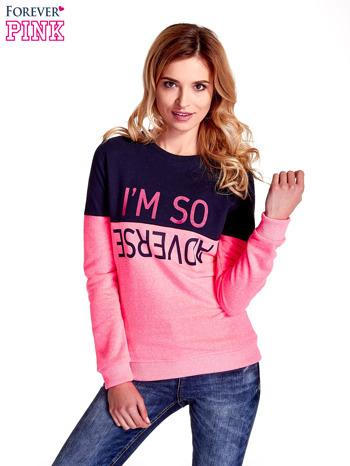 Różowa bluza z napisem I'M SO ADVERSE
