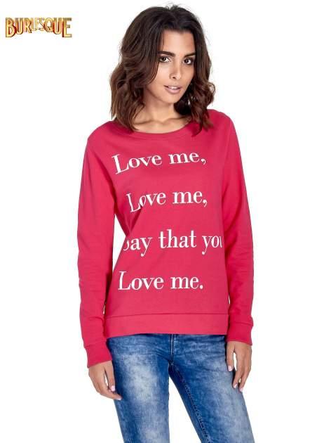 Różowa bluza z napisem LOVE ME i dłuższym tyłem                                  zdj.                                  1