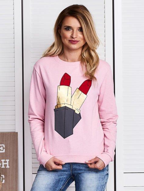 Różowa bluza ze szminkami                               zdj.                              1