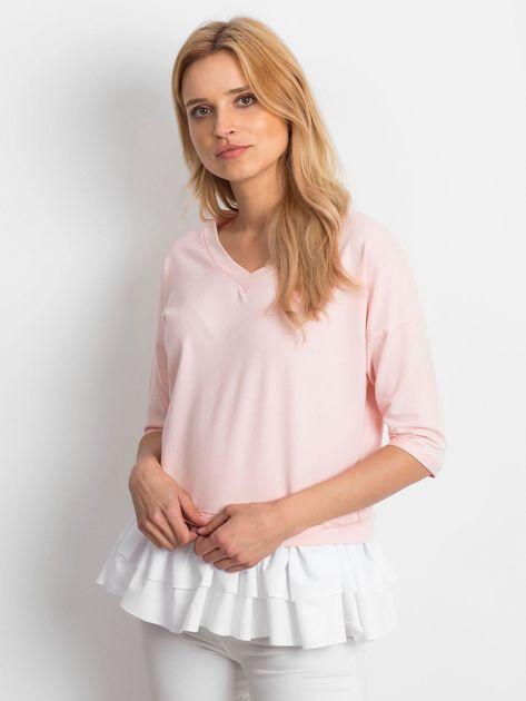 Różowa bluzka V-neck z falbaną                              zdj.                              1