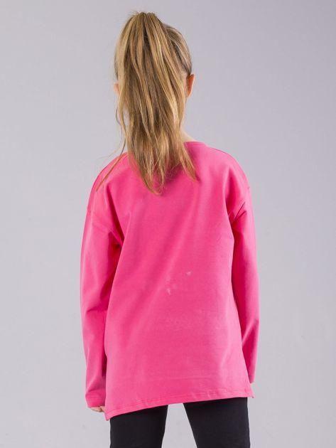 Różowa bluzka dziewczęca z aplikacją z perełkami                              zdj.                              3