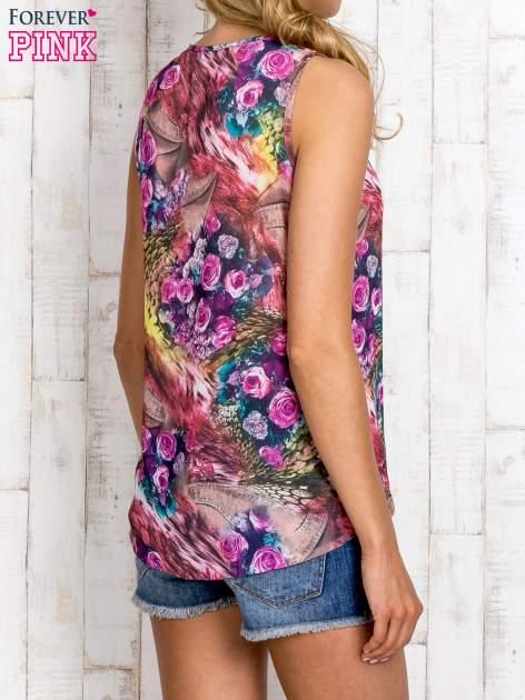 Różowa bluzka koszulowa w etniczne motywy                                  zdj.                                  4