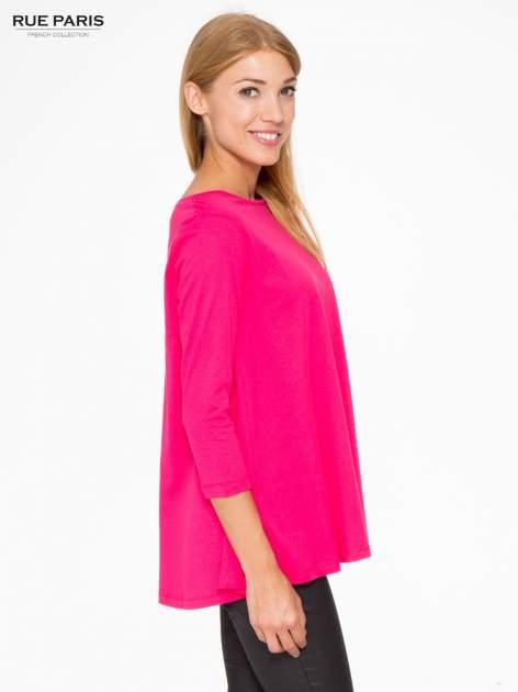 Różowa bluzka o rozkloszowanym kroju z rękawem 3/4                                  zdj.                                  3