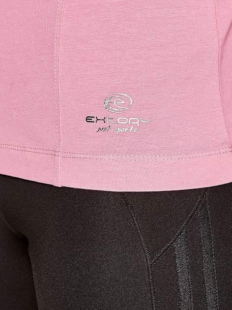 Różowa bluzka sportowa z dekoltem U                                  zdj.                                  3