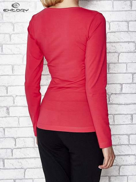 Różowa bluzka sportowa z dekoltem V                                  zdj.                                  4