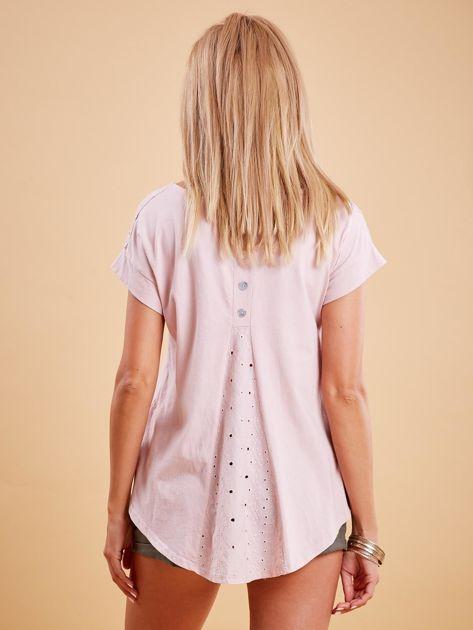 Różowa bluzka z guzikami z tyłu                              zdj.                              2