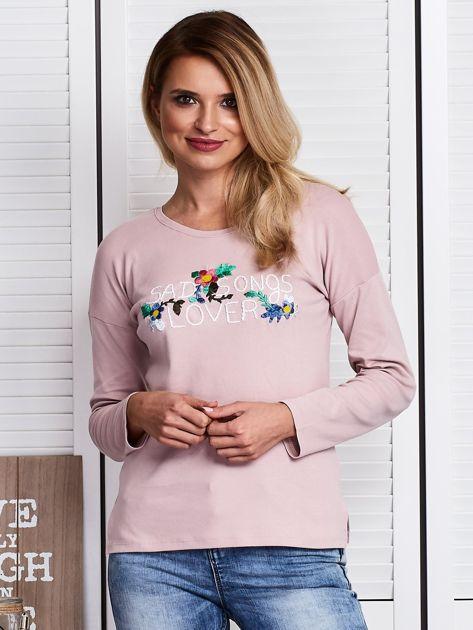 Różowa bluzka z kwiatowym haftem                              zdj.                              1