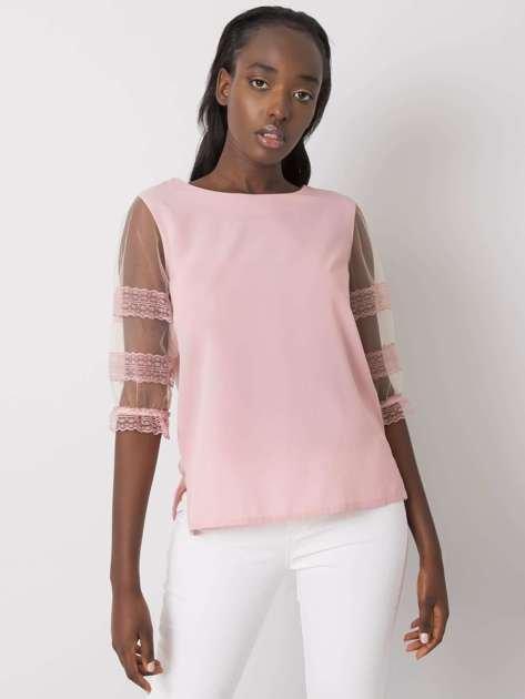 Różowa bluzka z ozdobnymi rękawami Cora