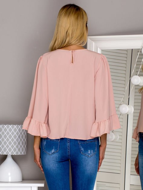 Różowa bluzka z szerokimi rękawami                                  zdj.                                  2