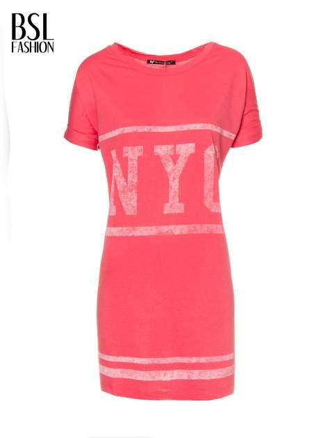 Różowa bluzosukienka z nadrukiem NYC                                  zdj.                                  5