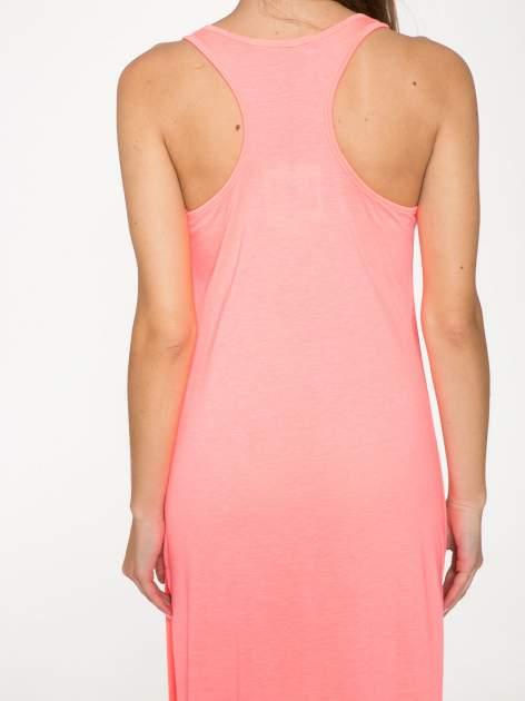 Różowa długa sukienka maxi z aplikacją z dżetów                                  zdj.                                  5