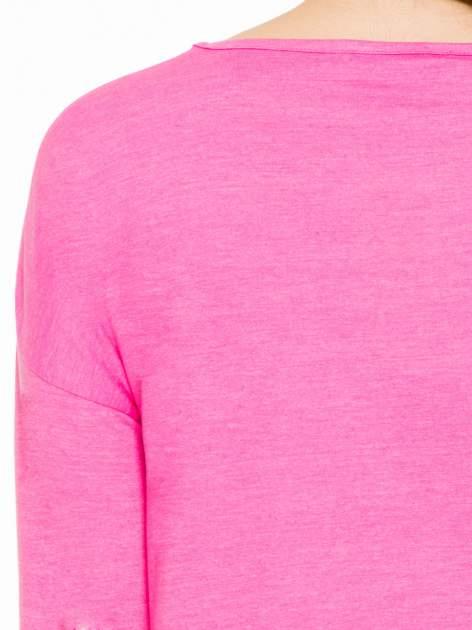 Różowa gładka bluzka z luźnymi rękawami 3/4                                  zdj.                                  7