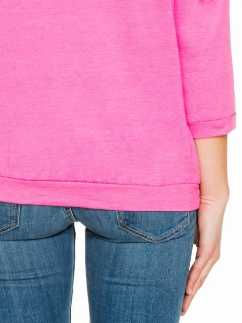 Różowa gładka bluzka z luźnymi rękawami 3/4                                  zdj.                                  8