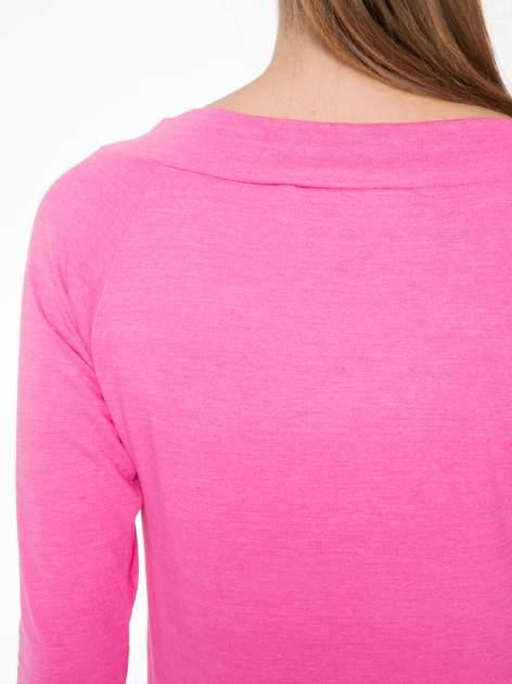 Różowa gładka bluzka z reglanowymi rękawami                                  zdj.                                  7