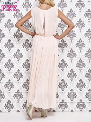 Różowa grecka sukienka maxi z koronką z tyłu                                  zdj.                                  2