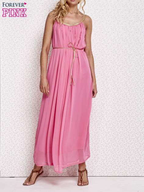 Różowa grecka sukienka maxi ze złotym paskiem