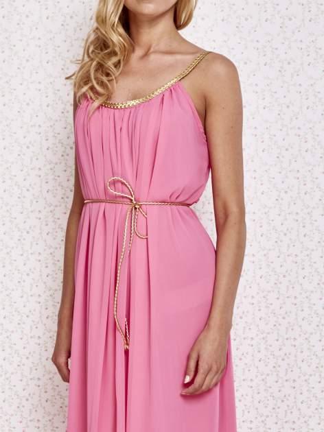 Różowa grecka sukienka maxi ze złotym paskiem                                  zdj.                                  5
