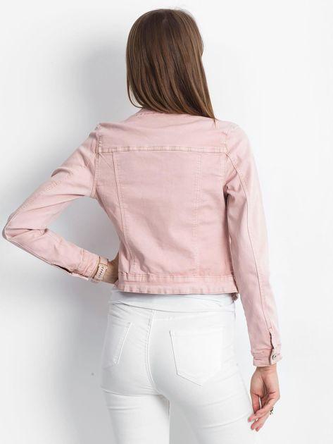 Różowa jeansowa kurtka z aplikacją                              zdj.                              2