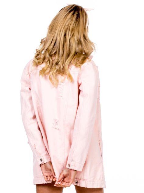 Różowa jeansowa kurtka z rozdarciami                              zdj.                              2