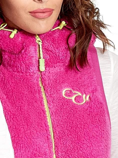Różowa kamizelka z polaru z kapturem z uszkami                                  zdj.                                  4