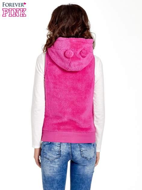 Różowa kamizelka z polaru z kapturem z uszkami                                  zdj.                                  6