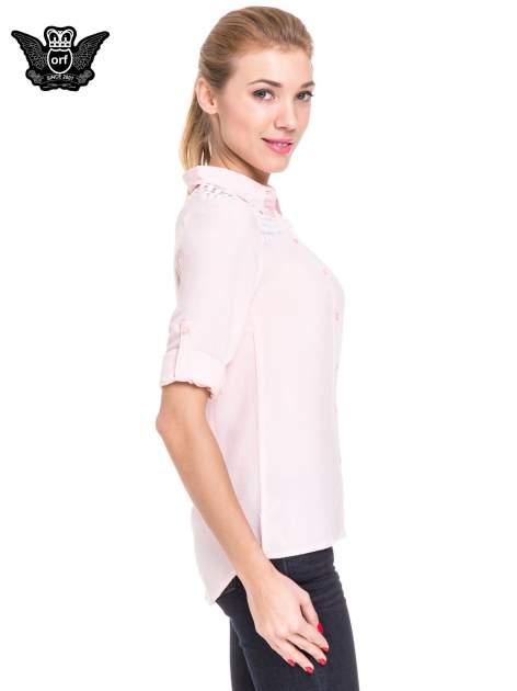 Różowa koszula damska z koronkową górą                                  zdj.                                  5