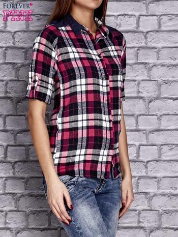 Różowa koszula w kolorową kratę z denimową wstawką                                  zdj.                                  3